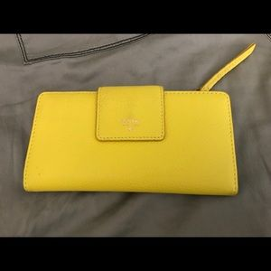 Fossil Lemon Yellow Leather Wallet New/Tag